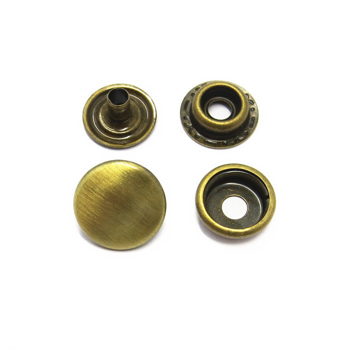 15mm Brushed Ant Brass Metal Press Stud Buttons