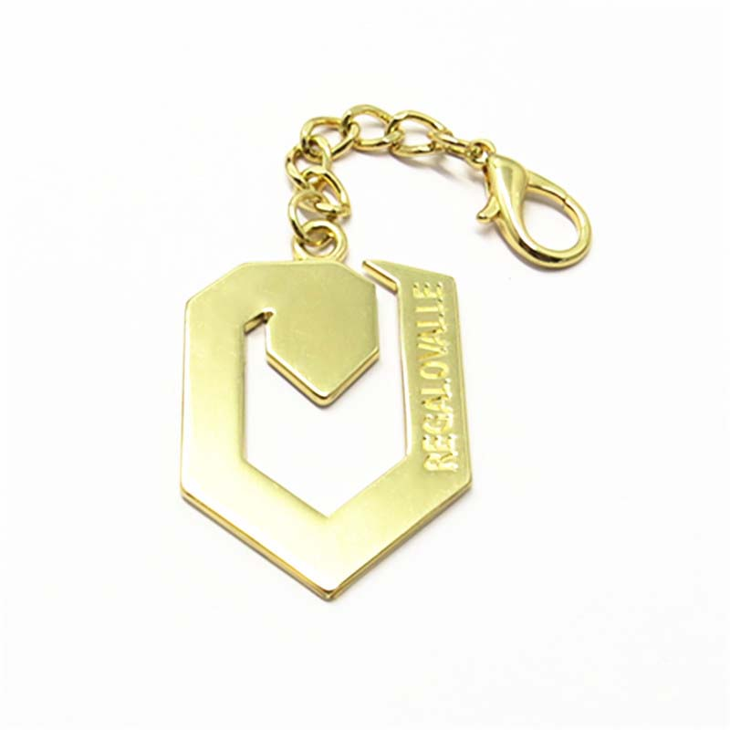 50mm Shiny Gold Custom Metal Key Chain With Logo