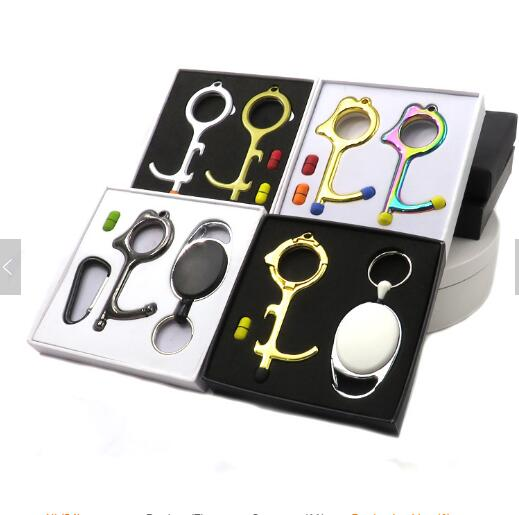 Wholesale No Touch With Silicone Tip Antimicrobial Metal Door Opener Keychain